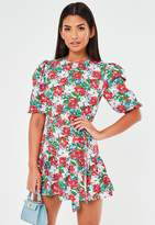 Missguided Red Floral Belted Skater Dress