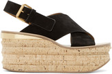 Chloé Black Camille Wedge Sandals