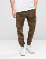 Pull&Bear Skinny Fit Joggers In Tan Camo