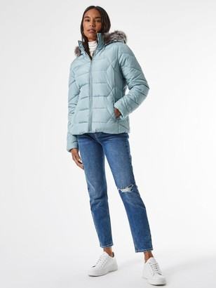 Dorothy Perkins Short Length Faux FurHooded Padded Coat - Blue