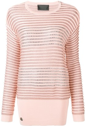 Philipp Plein crystal embellished striped jumper
