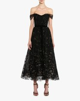 Marchesa Flocked Glitter Tulle Tea-Length Dress
