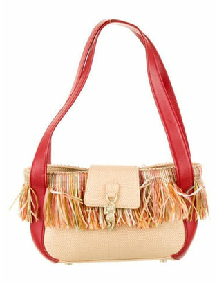 Kieselstein-Cord Leather-Trimmed Straw Bag Tan