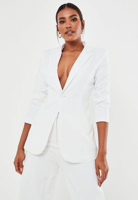 Missguided Petite White Co Ord Classic Slim Fit Blazer