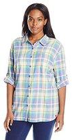 Dickies Women's Plus Size Quarter Sleeve Roll-up Plaid Shirt