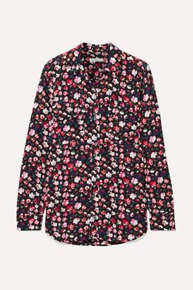 Equipment Slim Signature Floral-print Crepe Shirt - Black
