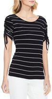 Vince Camuto Drawstring Sleeve Pin Stripe Top