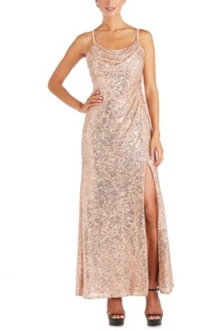 Night Way Nightway Sequinned Cowlneck Gown