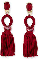 Oscar de la Renta Short Silk Tassel Drop Earrings