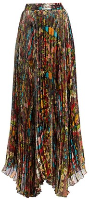 Alice + Olivia Katz Floral Pleated Maxi Skirt