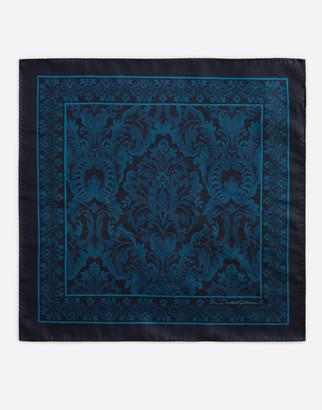 Dolce & Gabbana Pocket Square In Baroque Print Silk