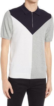 Reiss Butler Colorblock Wool Blend Zip Polo