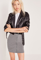 Missguided Zip Front Mini Elastic Waist Skirt Grey