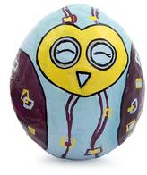 Handcrafted Papier Mache Paperweight Tumbler, 'Lucky Happy Owl'