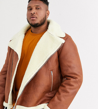Asos DESIGN Plus faux shearling biker jacket with teddy lining in tan