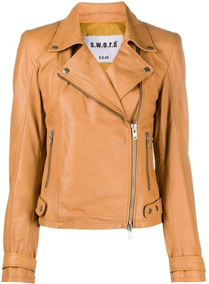 S.W.O.R.D 6.6.44 Off-Center Zip Biker Jacket
