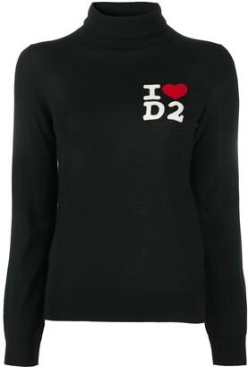 DSQUARED2 Logo-Print Rollneck Jumper