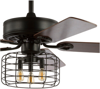 Jonathan Y Designs Asher 52In 3-Light Industrial Metal/Wood Led Ceiling Fan With Remote