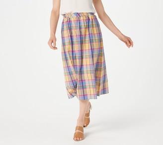 Joan Rivers Classics Collection Joan Rivers Regular Madras Plaid Midi Skirt