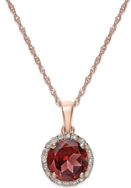Macy's Citrine (1-1/10 ct. t.w. and Diamond Accent Pendant Necklace in 14k Gold (Also available in Garnet)