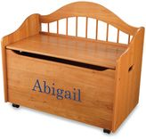 Kid Kraft Personalized Girl's Toy Box in Honey with Blue Library Font