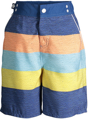 Andy & Evan Boys' Board Shorts NAVY - Navy & Peach Stripe Swim Trunks - Toddler & Boys