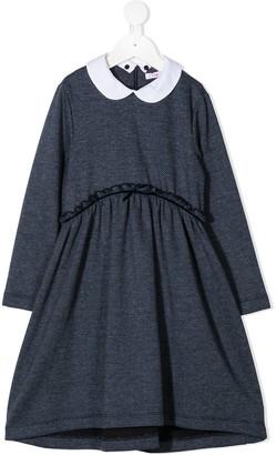 Il Gufo Contrast-Collar Midi Dress