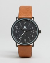 Asos Watch In Black With Tan Highlights