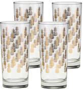 One Kings Lane Set of 4 Cooler Pineapples Highball Glasses - Clear/Gold