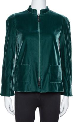 Giorgio Armani Emerald Green Velvet Zip Front Jacket S