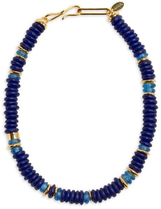 Lizzie Fortunato Laguna 18K Goldplated & Two-Tone Blue-Colored Glass Bead Necklace