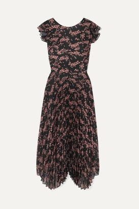 Markus Lupfer Sadie Pleated Floral-print Crepe De Chine And Chiffon Midi Dress - Black