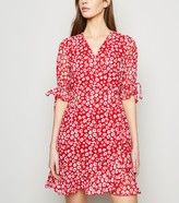 New Look Floral Tie Puff Sleeve Wrap Dress