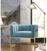 Magnolia Sea Blue/Gold-tone Metal/Fabric Chair