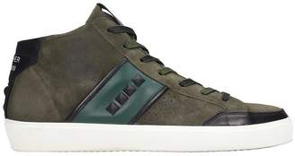 Leather Crown Sneakers In Green Suede