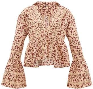 Dodo Bar Or Enid Floral Print Crochet Insert Cotton Shirt - Womens - Cream Print