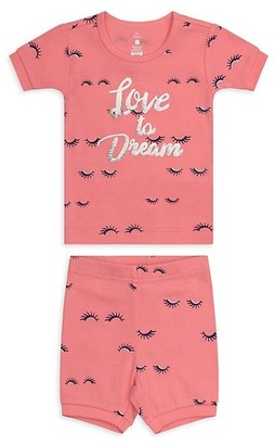 Petit Lem Little Girl's Girl's 2-Piece Dream Eyelashes Top Shorts Pajama Set