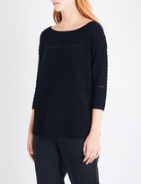 St. John Boat-neck mesh-detail knitted jumper