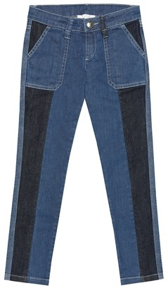 Chloé Kids Two-tone skinny jeans