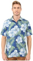 Tommy Bahama Printed Plaid Hibiscus Camp Shirt