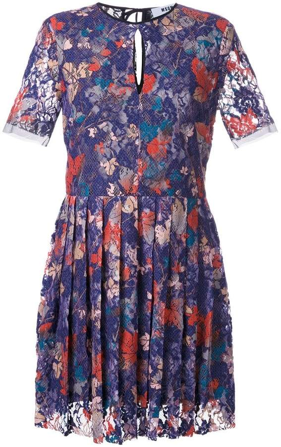 MSGM leaf print lace dress
