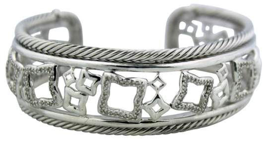 David Yurman Quatrefoil Sterling Silver Diamond Bangle Bracelet