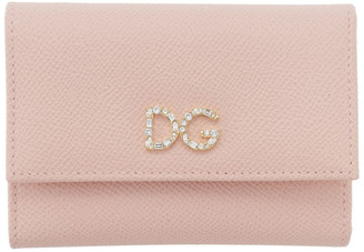 Dolce & Gabbana Pink Crystal Logo Trifold Wallet