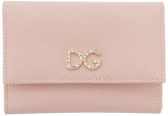 Dolce & Gabbana Pink Crystal Logo Trifold Wallet