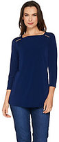 Susan Graver Liquid Knit Square Neck 3/4 Sleeve Top with Trim