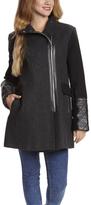 Kensie Charcoal Twill Wool-Blend Coat