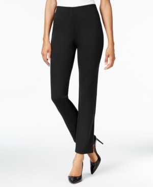 JM Collection Jm Petite Collection Ponte Pull-On Straight-Leg Pants, Created for Macy's