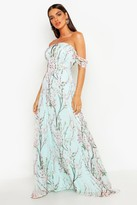 boohoo Jessica Floral Off The Shoulder Maxi Dress mint