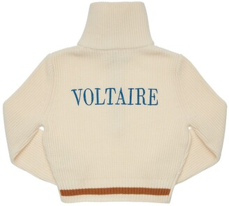 Zadig & Voltaire Intarsia Wool Blend Knit Zip Sweater