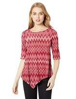 Star Vixen Women's 3/4 Sleeve Hanky Hem Stretch Knit Tunic